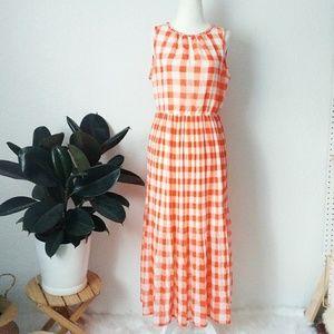Maison Jules Orange Checkered Gingham Midi Dress